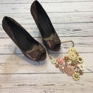 Tip Toey Joey Shoes - Joey Peek toe heels in a sparkly deep brown. EUC