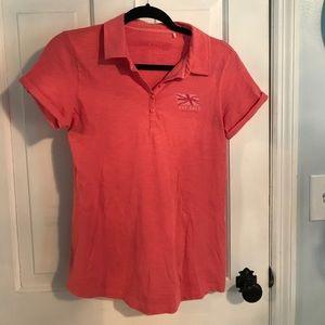 "Fat Face Tops - Peach ""Fat Face"" collared t-shirt"