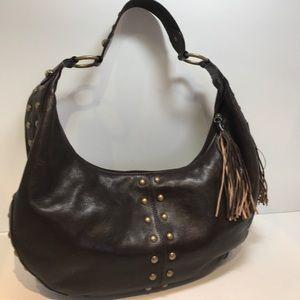 Kate Landry Handbags - Kate Landry Brown Leather Studded Hobo