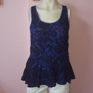 Blue Anthropologie lace top