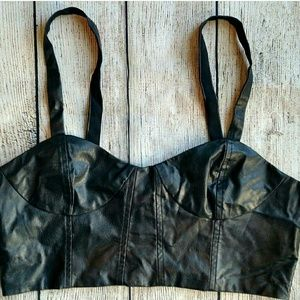 New Lucca Couture faux leather bralette. Medium