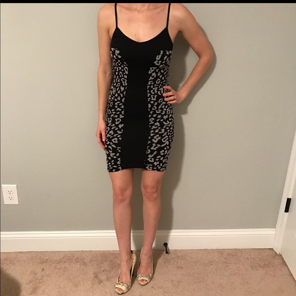 bebe Dresses & Skirts - Black and Gray Fitted Leopard Print Dress