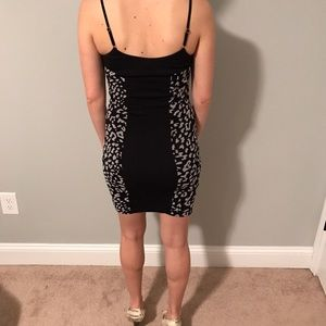 bebe Dresses - Black and Gray Fitted Leopard Print Dress