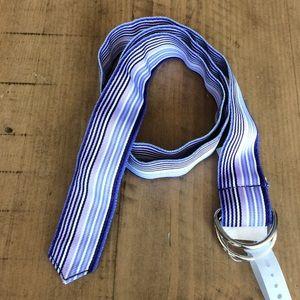 LOFT purple stripe fabric d-ring belt