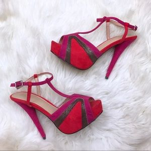 Sole Society Shoes - Sole Society Red Pink Gina Platform Strap Heels