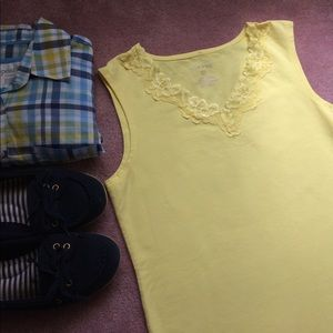 White Stag Tops - Bright yellow tank top lace detail