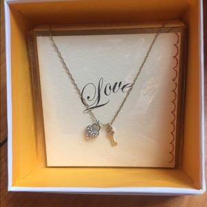 lonna & lilly Jewelry - Crystal heart-shaped lock & key necklace
