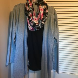 Attached tank and cardigan with scarf