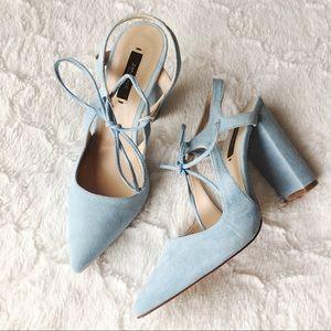 Zara Shoes - {Zara} baby blue tie-up heels NWOT