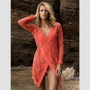 B Chic Boutique Other - Coral Lace Crochet Swimsuit Cover Up