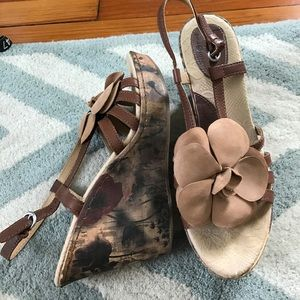 Born floral leather wedges
