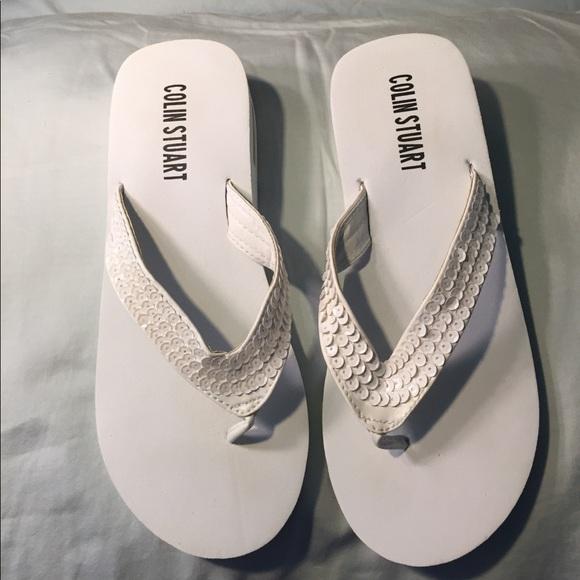 73d39b740de943 Colin Stuart Shoes - VS Colin Stuart white Sequin wedge flip flops