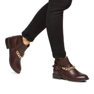Shoe Dazzle Shoes - Brown Faux Leather Zip Gold Chain Moto Ankle Boots