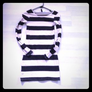 H&M ivory and black striped dress