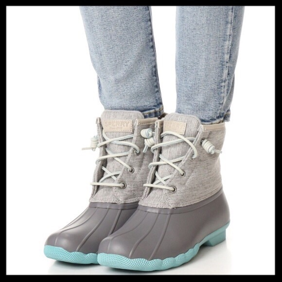 025823a733cb sperry    saltwater rubber duck boots in gray blue.  M 590a273d3c6f9fb32b00f8d5
