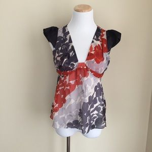 Anthropologie Tops - Anthropologie Odille floral sheer silk top sz 0