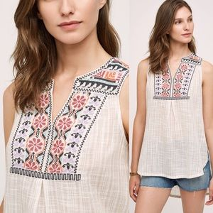 Anthropologie Tops - Anthropologie Embroidered Tank Tunic