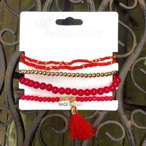Jewelry - Tassel Bracelet in Berry Red