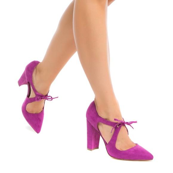 Magenta Block Heel Shoes