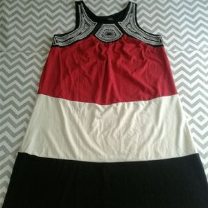 new directions Dresses & Skirts - New directions color block embroidered neck stripe