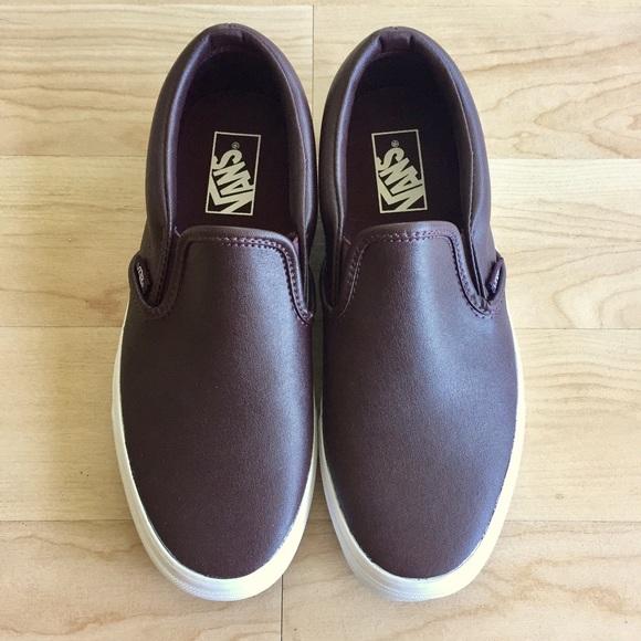 24aee820b5 NWOT Dark Burgundy Red Leather Classic Slip Ons. M 590a2d2cc28456a5ac016b7e