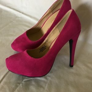 Raspberry colored heels.