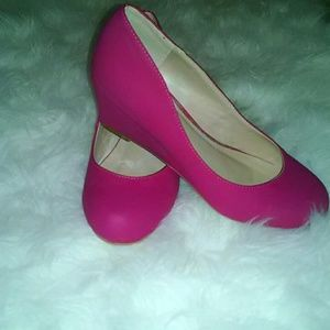 Journee Collection Shoes - Pink Low Wedged heels