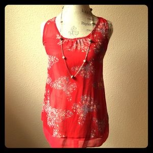 Tops - Red Sheer Butterfly flower blouse