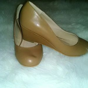 Journee Collection Shoes - Cognac tan low wedged shoes
