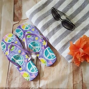 Maya Shoes - Peace love dreams  purple flip flops nwt all sizes