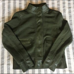 Who What Wear Jackets & Blazers - NWT WhoWhatWear Army Green Textured Moto Jacket- S