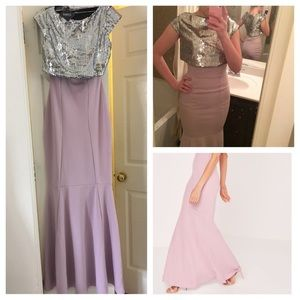 New! Lilac Long Formal Dress With Sequin Top