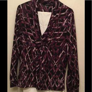 Dress Wrap Blouse, Sz L, Criss-cross Cut