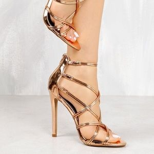 Liliana Shoes - Liliana Metallic Rose Gold Strappy Heels