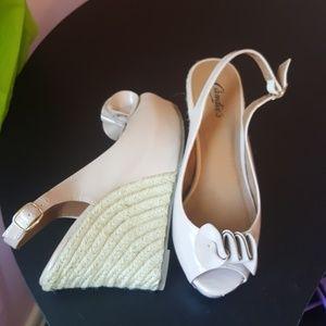 Candie Slingback open toe  Nude Wedges