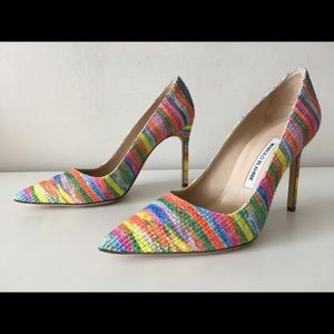 MANOLO BLAHNIK BB 105mm RAINBOW FABRIC PUMPS. 39.5