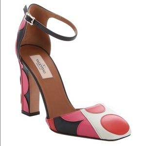 Valentino Shoes - Valentino Pink Red Polka Dot Leather Block Heel