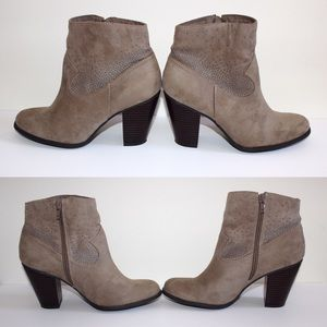 JustFab Shoes - Tan JustFab Ankle Booties w/ Silver Studs SZ 9