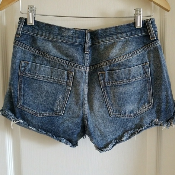 Free People  Free People Cut Off Embroidered Jean Shorts