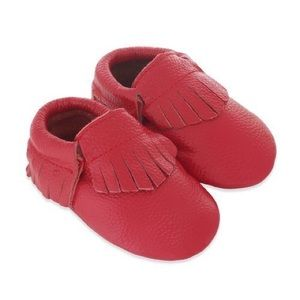 MAC&LOU Other - MAC&LOU FRINGE BABY LEATHER MOCCASINS RED CORVETTE