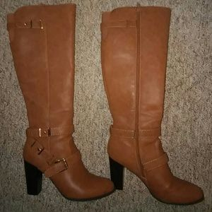 "G by Guess Shoes - G by Guess Cognac 4"" Knee High Boots (9.5)"