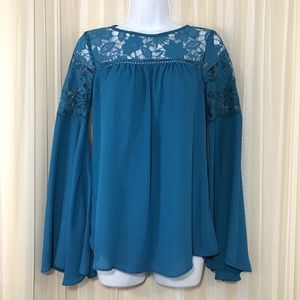 Soulmates Tops - Soulmates Crocheted Lace Teal Blouse Bell Sleeves