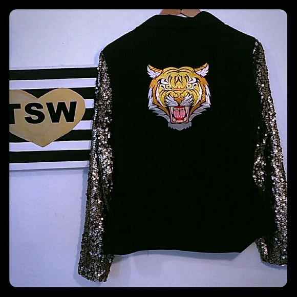 Mimi Chica Jackets & Blazers - SEQUIN TIGER BLING GOLD BOMBER TYPE JACKET