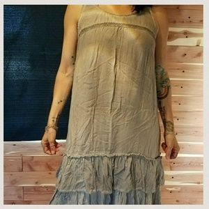 NEW❤Boutique Earth Grey Ruffle & Embroidered Dress