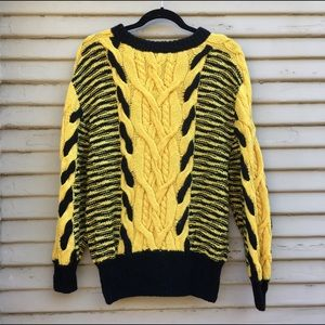 Black Yellow Vintage Sweater