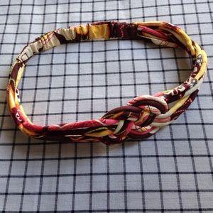 Vintage fabric woven knot headband yellow pink