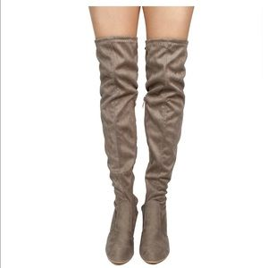 Women's Chunky Heel Thigh Faux Suede Boots