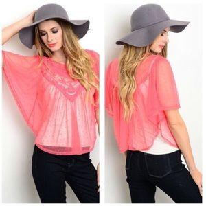 Tops - NEW coral sheer blouse