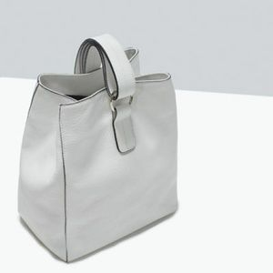 ZARA White Leather Bucket Bag 2 Way Shoulder Bag
