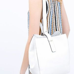 Zara Bags - ZARA White Leather Bucket Bag 2 Way Shoulder Bag